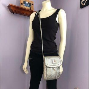 Tignanello Metallic Silver Leather X-body Bag
